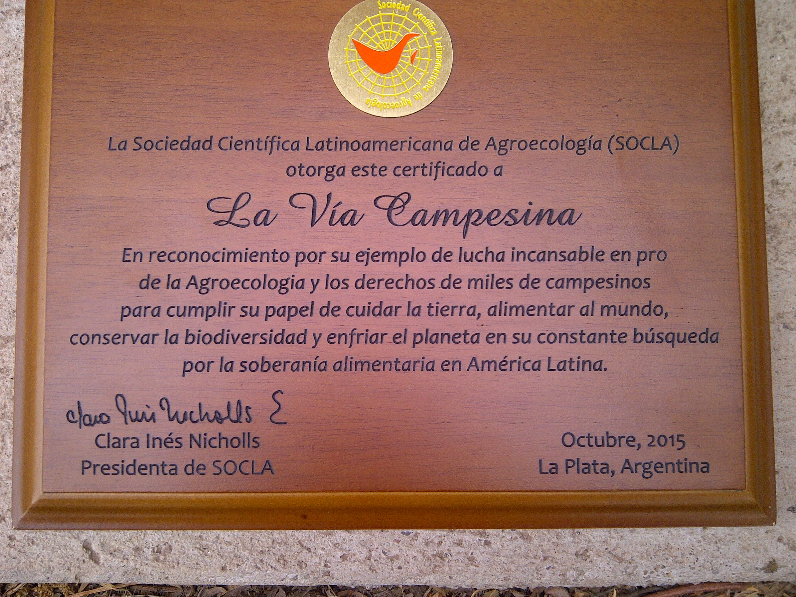 The award given by SOCLA to La Via Campesina